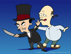 cartoon ilustration of Dr Fret holding a big butcher knife looking          sinister next to the homely looking Igon