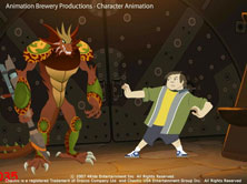 scene from production: boy puts martial arts move on large creature standing peacefully