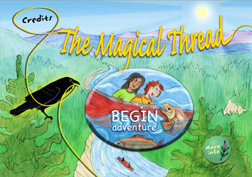 'The MagicalThread' title over a forest background with 'begin adventure' button