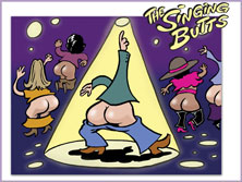 cartoon image: dancer in a club with his bare bottom exposed strikes a pose